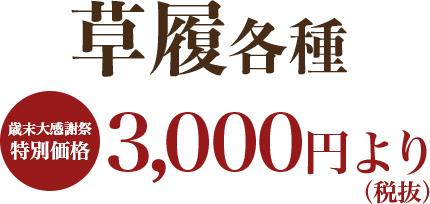 草履各種 歳末大感謝祭 3,000円(税抜)