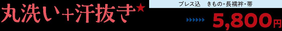 丸洗い+汗抜き★【プレス込 きもの・長襦袢・帯】通常価格9,800円→5,800円
