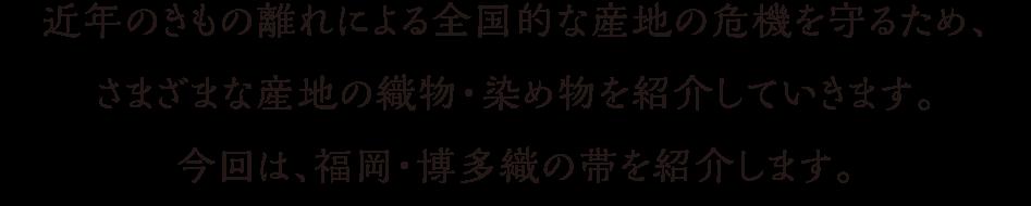 近年のきもの離れによる全国的な産地の危機を守るため、さまざまな産地の織物・染め物を紹介していきます。今回は、福岡・博多織の帯を紹介します。